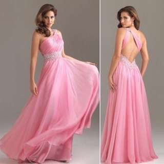 New pink backless formal dress by Allure