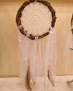 Readystock dreamcatcher white lace feather