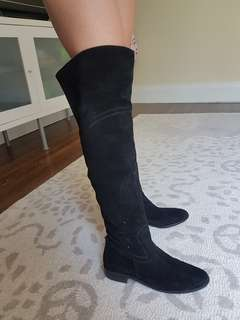 Genuine leather. Over the knee black boots. Size 7.5