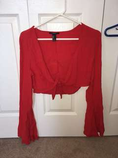 Bell Sleeve Tie Front Blouse