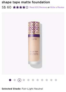 tarte shape tape matte foundation - fair light neutral (shapetape)
