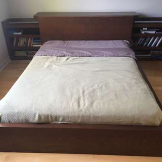 IKEA double bed frame with shelves and mattress