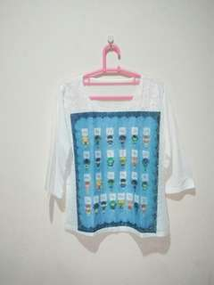 Blouse putih renda boneka ALL SIZE fit to M