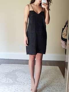 Black satin dress. Size medium-large