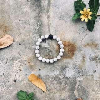 White Agate & Lava Stone Bracelet