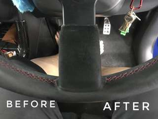 Car interior leather cleaning + conditioning / fabric steaming and chemical extraction!