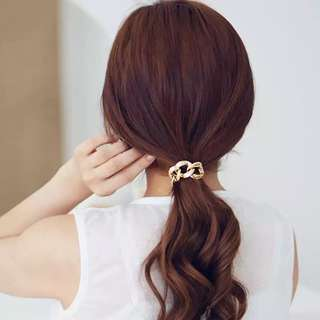 Korean style chain hair tie in gold or silver
