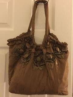 布花緞布側背包