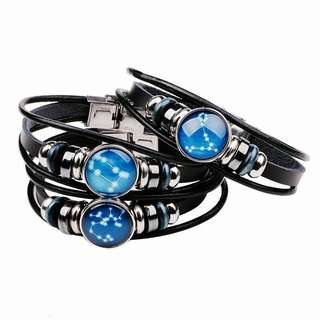 Horoscope constellation leather bracelet