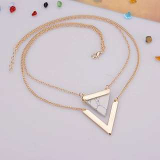 Marble stone geometric statement necklace