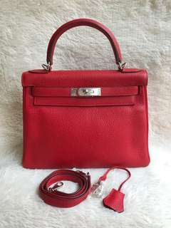 Great Deal⚡️Hermes Kelly 28 Rouge PHW #Q