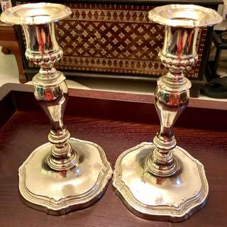 Silver candle stick holders vintage
