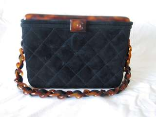 CHANEL Black Quilted Suede Tortoise Lucite Top Box Bag