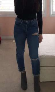 topshop jeans w slits in the knees, perfect condition