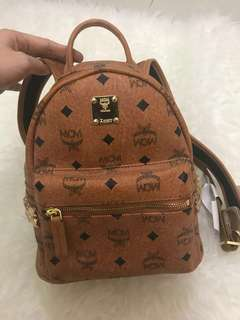 Mcm backpack small cognac