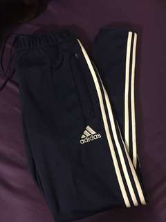 Small blue and white adidas track pants