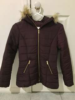 H&M Puffer Jacket Coat With Faux Fur Hood Burgundy Size 6