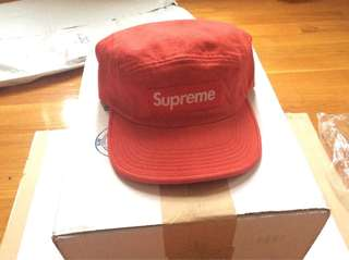 Supreme Red Denim Cap