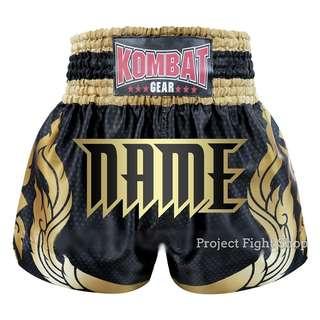 Customize Kombat Gear Muay Thai Boxing MMA Shorts Black Stars w Gold Thai Tattoo