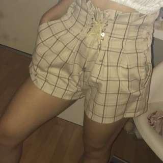 Cream/beige grid shorts