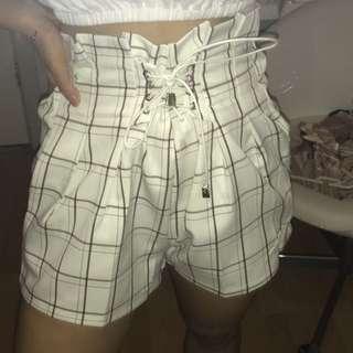 White grid shorts