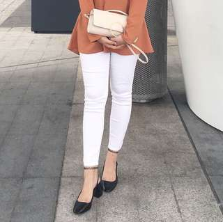 Bershka White Skiny Pants
