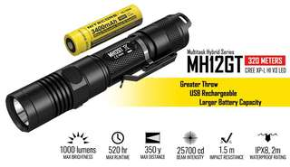 Nitecore MH12GT 1000 lumens light with built-in charger and battery