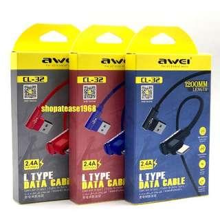 AWEI 1.2米長 2.4A快充 Lightning Iphone L-Type 數據充電線全銅線芯數據線 CL-32