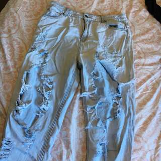 Glass ons distressed jeans