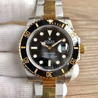 Rolex Submariner 18K Black Gold Ceramic Bezel Swiss ETA3135