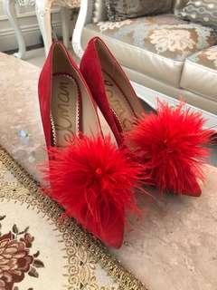 🚚 麂皮紅色高跟鞋