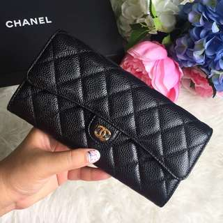 🖤Good Deal! Save $300!🖤 100% Authentic Chanel Long Wallet in Black Caviar GHW