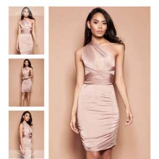 Rose gold multiway midi dress