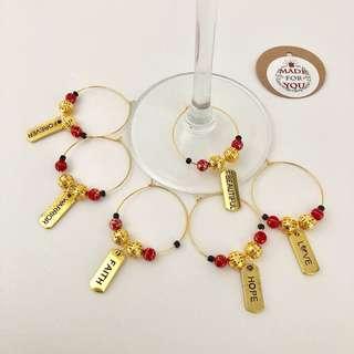 Inspirational Wine Charm Gold (set of 6)