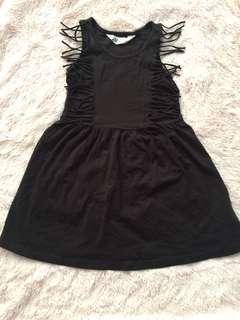EUC H&M fringe black dress coachella