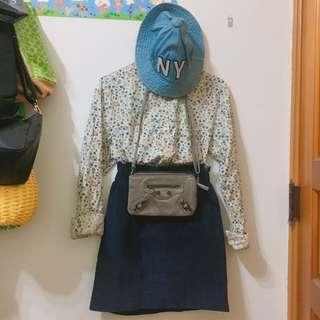 燈芯絨花苞裙 咖灰韓國三層機車包 牛仔漁夫帽