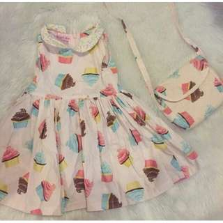 CCGC Cupcake Dress with sling bag cotton Ice Cream cute ootd chichi girl's closet 24m 2t