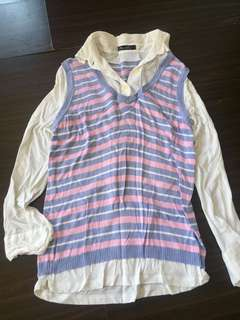 White Longsleeve with knitted vest