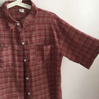 Red checkered flannel collared top