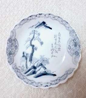 Hand praint porcelain vintage plate