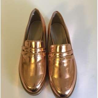 Rose Gold Platform Loafers