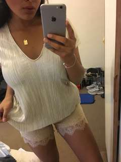 Farfetch gold hawk linen oatmeal shorts lace