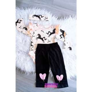 Unicorn Romper + Pants + Headband