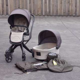 Reduced price pram stroller with rocking bassinet