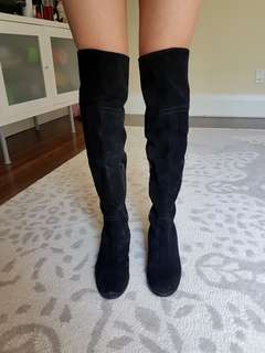 Genuine leather, Over-the-knee black boots. Size 7.5