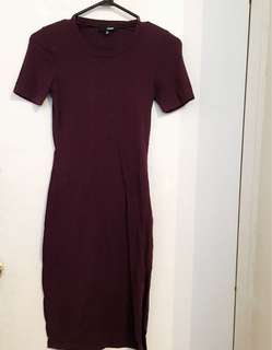 Aritzia MAROON T-Shirt Dress