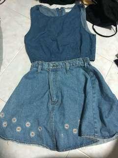 Denim Skirt and Top Set