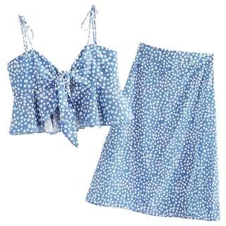 Ruffled top + midi skirt set