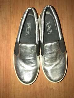 Topshop Holographic or Silver slip on shoes