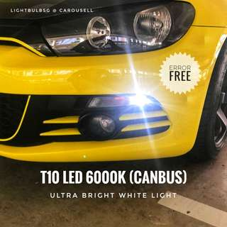 T10 LED 6000k error free canbus for cabin, pole. licence plate light - VW Volkswagon Scirocco Golf Jetta BMW Audi Mercedes Volvo Toyota Honda Kia Hyundai Subaru Opel Mitsubishi Nissan Suzuki Mazda Renault Ford Citroen